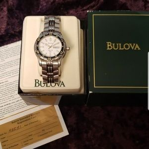 Bulova stainless steel watch with date feature